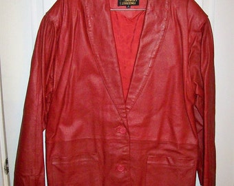 Vintage Ladies Red Leather Blazer Jacket by Fingerhut Fashions Medium Only 15 USD