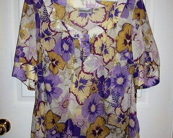 Vintage Ladies Purple Floral Print Dotted Swiss Blouse by Avenue Size 22/24 Only 7 USD