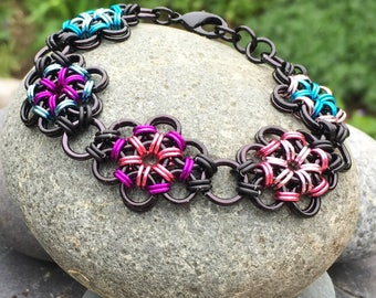 Pinks and Blues Japanese Flower Garden Bracelet - Ready to Ship