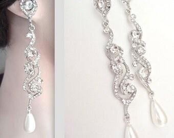 """Long pearl earrings - Crystal and pearl earrings ~ 4"""" ~ Statement pearl earrings - Brides earrings - Crystal rhinestones ~ STUNNING!"""