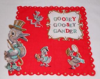 Vintage Goosey Goosey Gander Childs Hanky Nursery Rhyme MINT