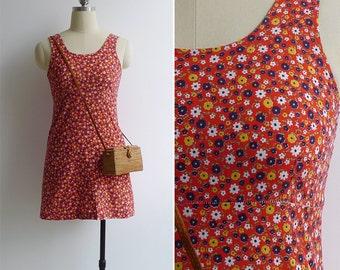 Vintage 70's Kitschy Flower Power Red Mini Dress with Built in Bra XXS or XS