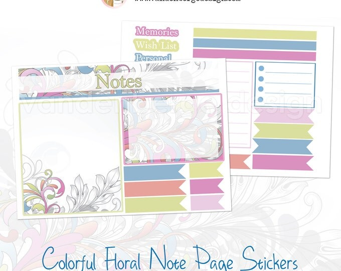 SALE! Notes Page Stickers- Colorful Floral -Perfect For The Erin Condren Life Planner!