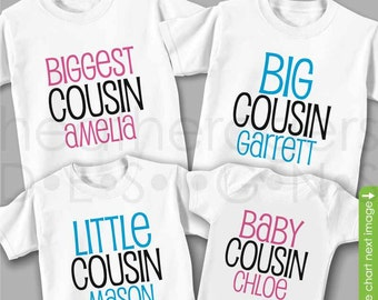 Matching Cousin Shirts or Bodysuits - Set of 4 - Biggest Cousin Big Cousin Shirt Little Cousin Shirt & Baby Cousin - Great for Family Photos
