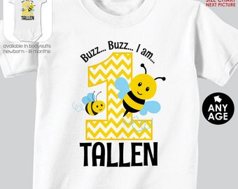 Bumblebee Birthday Shirt or Bodysuit - Bumble Bee 1st Birthday Shirt - Made for ANY AGE - Personalized Bumble Bee Birthday Shirt