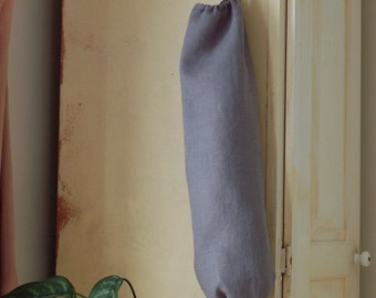Linen Plastic Bag Holder / Grocery Bag Holder / Slate