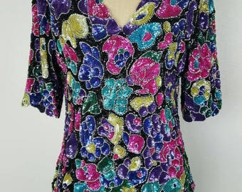 Bright Floral Sequin Top - Medium 36/38