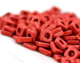 Mykonos 6mm Square Washer - Red - Greek Ceramic Beads - Quantity: 50 or 100