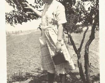 "Vintage Snapshot ""Woman Photographer"" Box Camera Hiking Boots Plaid Cotton Dress Found Vernacular Photo"