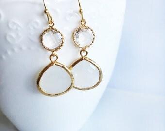White Crystal Earrings, Bridal, Wedding, Clear Glass Stone Gold Dangle Tear Drop Earrings, Personalised Work Jewelry, Everyday Wear