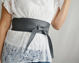 Dark grey leather obi belt, Obi belt, faux leather belt, sash belt, grey obi belt, womens clothing, boho belt, dark grey belt