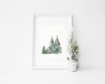 Winters Edge / Winter Tree  Watercolor / Printable Art / Printable Watercolor / Instant Download