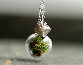 STERLING FOREST FOX Necklace. Glass orb with real moss and bark. 925 sterling fox head and necklace. Gift for her.