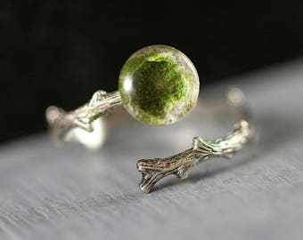 New: Sterling MOSSY BRANCH ring. Delicate branch ring with real moss on stone. Stackable. Adjustable. Nature jewelry for her.