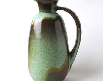 Vintage Prairie Green Pitcher, Frankoma Pottery, Drip Ware, Art Pottery, #835, 1960s, Vintage Ceramic Pitcher, Verdigris