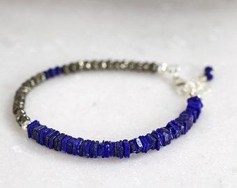 Lapis Lazuli Bracelet - Blue Gemstone Bracelet - Multi Stone Bracelet - Modern Bracelet - Blue Bracelet For Her - Gemstone Beaded Bracelet