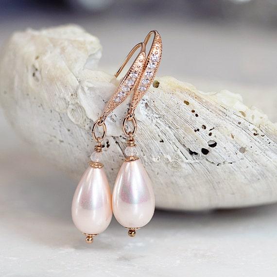 Pink Pearl Earrings - Rose Gold & Rose Quartz Earrings