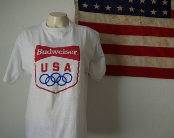 Vintage BUDWEISER OLYMPICS 1980s T Shirt/ Rare 80's budweiser Tshirt/ 1980 Olympic Bud Beer Sport Tee