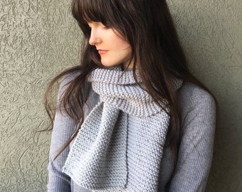 Grey Knitted Scarf, Cozy Winter Knitwear / Long Warm Gray Scarf / Vegan Yarn