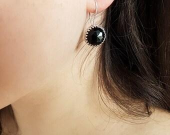 Black Onyx Sterling Silver Earrings, Onyx Earrings, Black Stone Jewelry, Birthstone Earrings, Onyx Jewelry, Black Onyx Earring, Natural Onyx