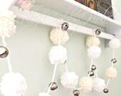 Custom Order for Nicole - Chunky Pom Pom Garland White & Ivory Yarn Garland - Chunky Pom Pom Garland - Nursery