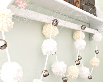 Chunky Pom Pom Garland - White & Ivory Yarn Garland - Holiday Garland - Chunky Pom Poms - Nursery - Baby Shower - Wedding Garland