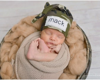 camo baby - name hospital hat - personalized baby gifts for boys - baby knot hat name - newborn name hat - hospital hat - gift for baby