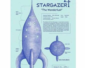 Sci Fi Art, Vintage Art, Digital Print, Retro Rocket Art, Geekery, Space Print, Space Poster, Space Age Art, Blueprint Drawing