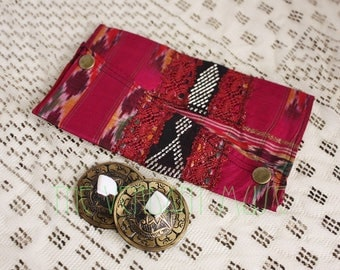 Large Assuit Zil Bag- Hot Pink Vintage Ikat Silk and Assiut Bellydance Finger Cymbals Pouch