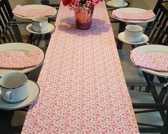Pink Heart Table Runner, Pink Valentine Table Runner