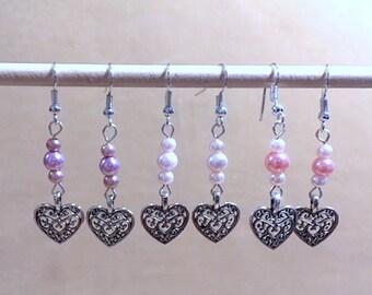 Filigree Silver Heart & Pearls Dangle Earrings, Silver Heart Charm, Filigree Earrings, Handmade Beaded Earrings Simple Pearl Wedding Jewelry
