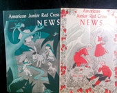Set of 2 Rare American Junior Red Cross News magazines from 1945