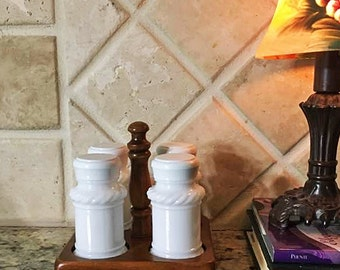 Small Spice Rack with Milk Glass Bottles ~ Small Vintage Spice Rack