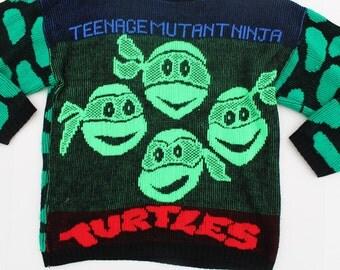 Vintage Teenage Mutant Ninja Turtles Sweater-Knitted TMNT Jumper - Black neon-retro-non itch wool- small size adult- Turtle Power-Ironic