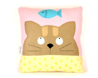 Cat Pillow, Kitten Pillow, Pillow Case, Cat Picture, Kitten, Cat lover Gift, Gray Tabby Cat Pillow, Cat Cushion, Cat Home Decorative Pillow
