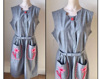 Vintage 1960s Misses' New Old Stock Step 'n Go by Kay Whitney House Dress 10 12