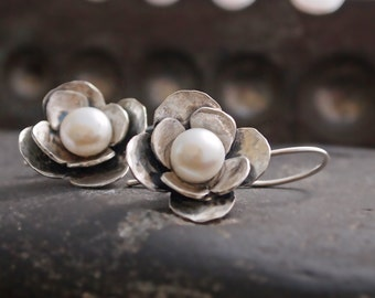Floral Pearl Earring, Blossom Earrings, Short Dangle, Handforged, Metalsmithed, Sterling Silver
