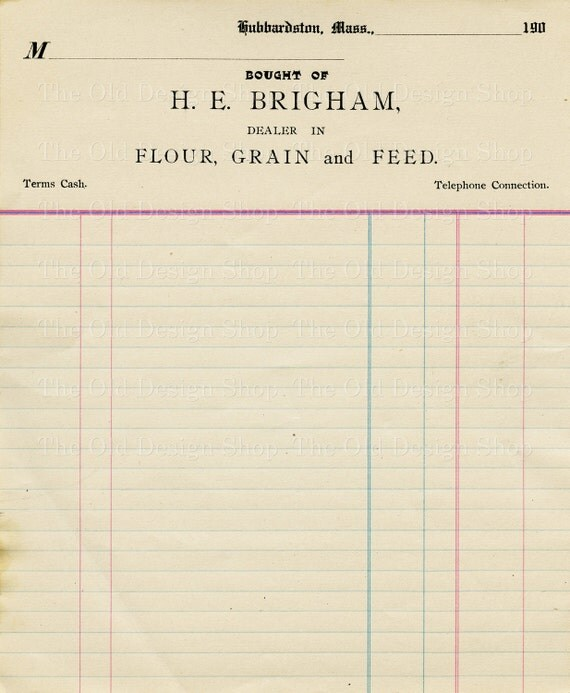 Vintage Accounting Ledger Page Printable Ephemera Brigham Flour Grain And  Feed Invoice Digital Download JPG From TheOldDesignShop On Etsy Studio  Printable Ledger Pages