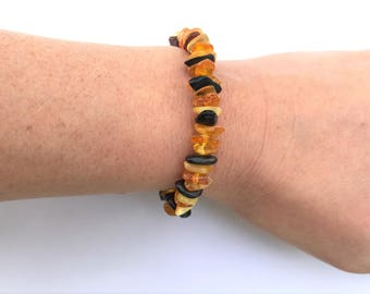 """GENUINE Baltic Amber ADULT Bracelet - Multi-colored Baltic Amber Beads- (7"""")"""