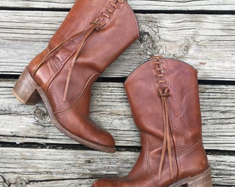 Vintage Brown Boots Cowboy Country Western Women Heel Size 6.5