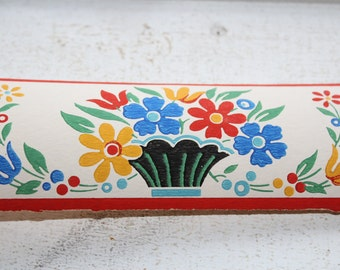 Vintage 1950s Wallpaper Border Gay Day Dex Brand Unused Wall Paper Colorful Flowers