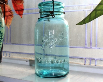 Antique Blue Ball Jar Half Gallon Sure Seal Circa 1910 to 1923