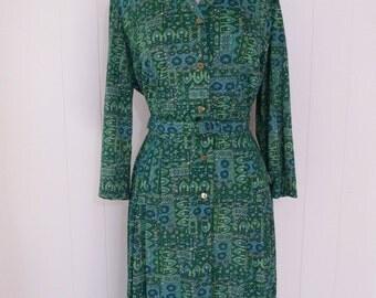 50's 60's Shelton Stroller Dress Button Front Paisley Nylon Jersey Day Dress Plus Size XL 2X