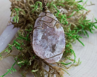 """Wire Wrapped Light Pink Tumbled Geode Necklace On an 18"""" Antiqued Copper Colored Chain"""