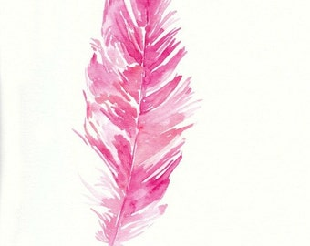 Pink Feather, original watercolor painting, 9x12, boho style, hot pink, home decor, girls room, feather painting, watercolor feather, bird