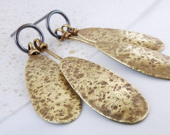Organic statement earrings in textured brass and oxidized silver. Statement dangle drop earrings.