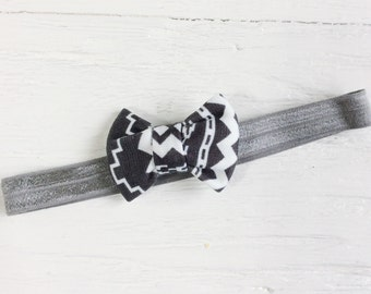Little gray bow baby girl bow headband newborn hair bow baby hair bow headband modern hair bow
