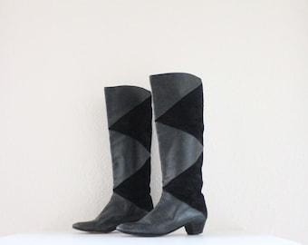 Vintage Black Leather Knee High Boots Sz 7