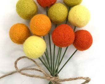 Yellow Orange Felt Pom Pom Flowers- Billy Ball Flowers- Bridesmaid bouquet- Flower bouquet- wool pom poms- Spring bouquet
