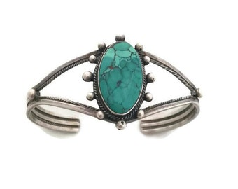 Sterling Silver Turquoise R.B. Running Bear Cuff Bracelet Native American Jewelry Womens Bracelet Bracelets Turquoise Bracelets
